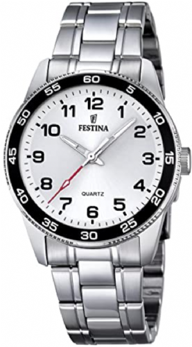 F16905/1 Festina ladies stainless steel bracelet watch with a red hand